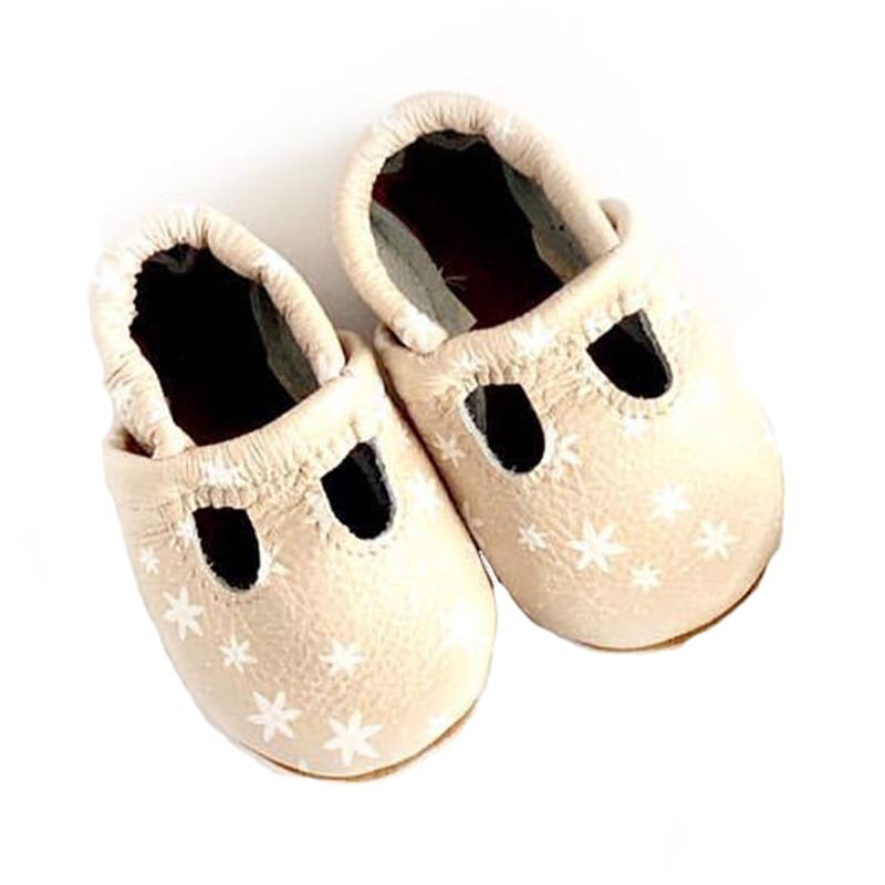 Starry Knight Design Be Chic Baby Leather T-Strap Shoes light pink white flowers