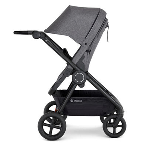Stokke Beat Compact Urban Infant Baby Stroller Travel System black melange heather grey