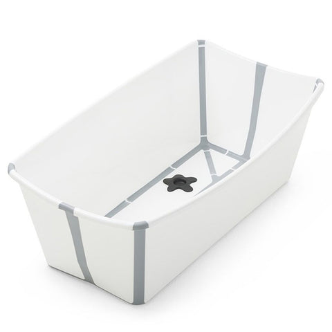 Stokke FlexiBath Newborn to Toddler with Heat Sensitive Plug Bath Tub white light grey