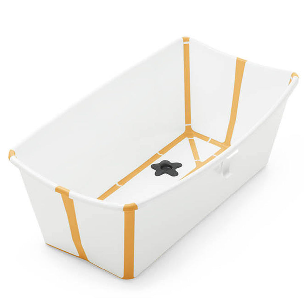Stokke FlexiBath Newborn to Toddler with Heat Sensitive Plug Bath Tub white mustard yellow