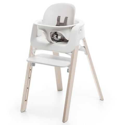 Stokke Steps High Chair Seat, Legs & Baby Set Bundle whitewash legs white seat