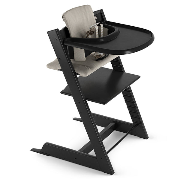 Stokke Beech Wood Adjustable Ergonomic Tripp Trapp High Chair Complete black timeless grey cushion black tray