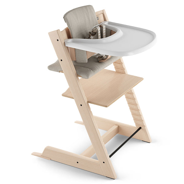 Stokke Beech Wood Adjustable Ergonomic Tripp Trapp High Chair Complete natural timeless grey cushion white tray