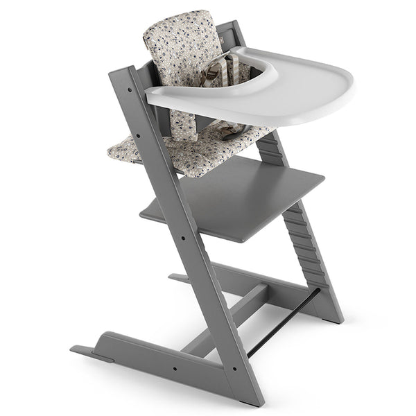 Stokke Beech Wood Adjustable Ergonomic Tripp Trapp High Chair Complete storm grey garden bunny cushion white tray
