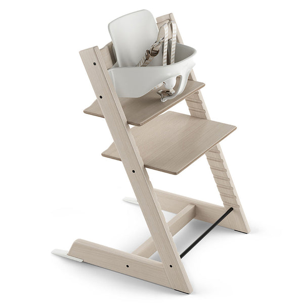 Stokke Adjustable Ergonomic Tripp Trapp High Chair with Baby Set white wash beige grey
