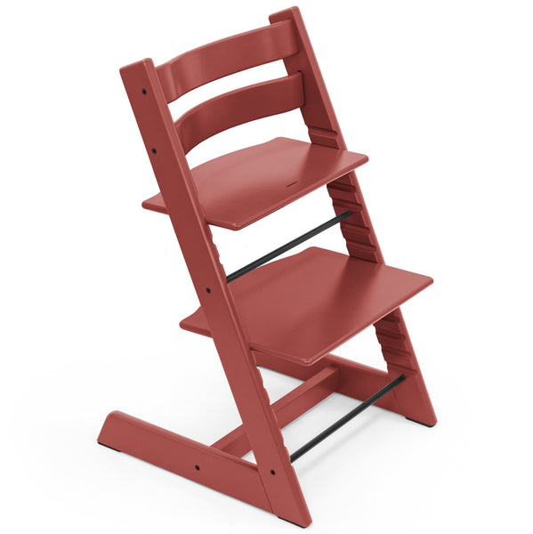 Stokke Beech Wood Adjustable Ergonomic Tripp Trapp Chair warm red muted
