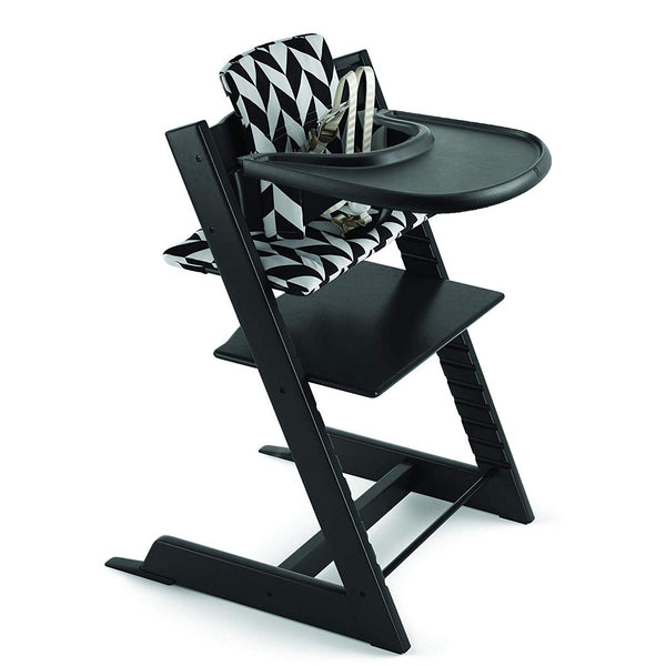 Stokke Beech Wood Adjustable Ergonomic Tripp Trapp High Chair Complete black chevron cushion tray