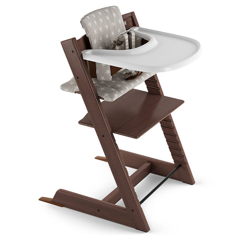 Stokke Beech Wood Adjustable Ergonomic Tripp Trapp High Chair Complete Walnut brown grey star cushion white tray