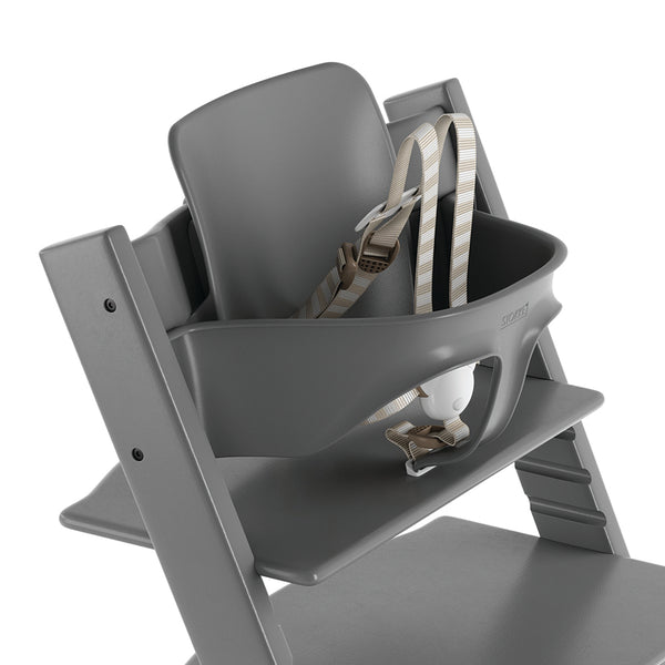 Stokke Adjustable Ergonomic Tripp Trapp Chair Baby Set with Harness light storm grey