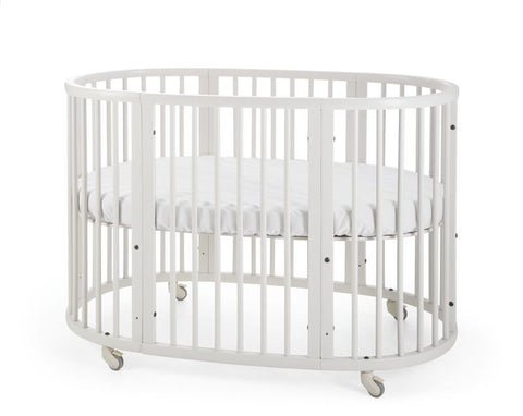 stokke oval sleepi crib bed mattress bundle comfortable evolvable height adjustable white