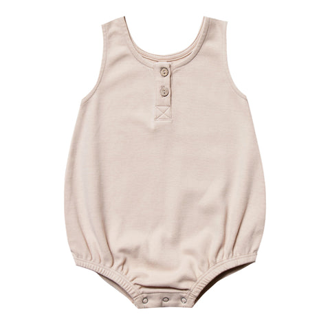Quincy Mae 100% Organic Cotton Sleeveless Infant Baby Bubble Romper rose light pink