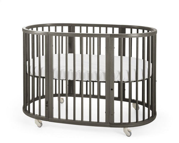 stokke oval sleepi crib bed mattress bundle comfortable evolvable height adjustable dark hazy grey