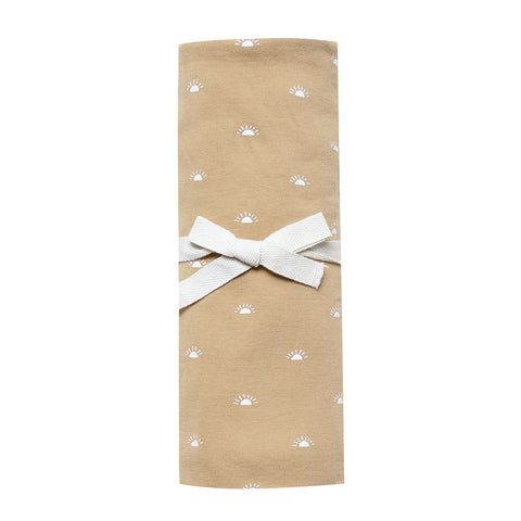 Quincy Mae 100% Soft Organic Cotton Brushed Jersey Swaddle Blanket honey yellow white polka dot