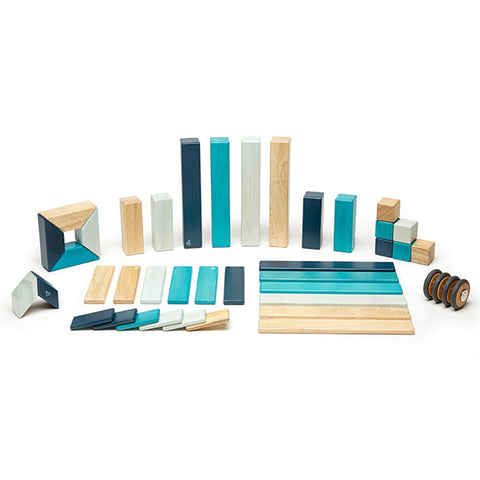 Tegu Blues 42-Piece Block Set Children's Building Toy light dark beige natural wheels