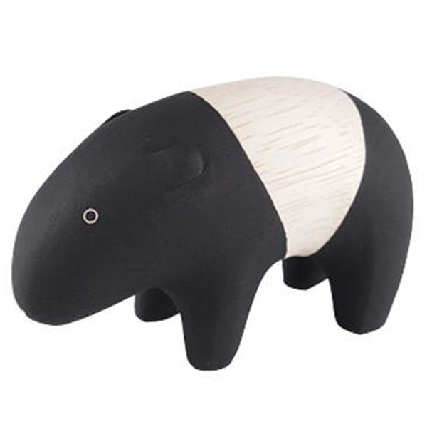 T-Lab Polepole Wooden Animals Hand-Crafted Toys malayan tapir black white