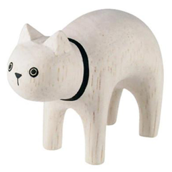 T-Lab Polepole Wooden Animals Hand-Crafted Toys white cat