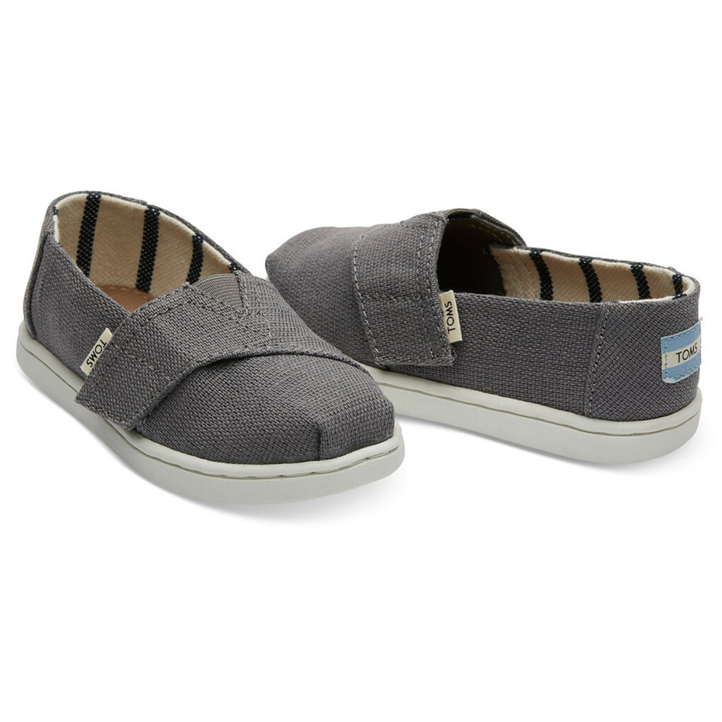 TOMS Shade Classic Canvas Tiny Kid's Shoes Clothing Accessory dark grey