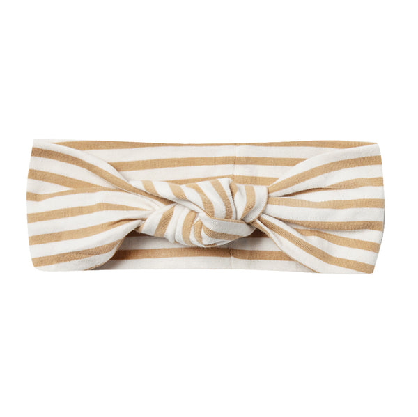 Quincy Mae Ribbed Organic Cotton Knot Turban Infant Baby Headband honey stripe white yellow brown
