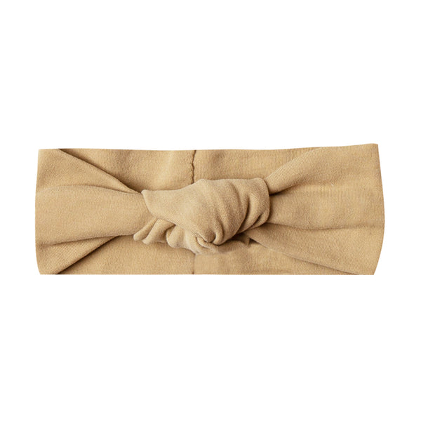 Quincy Mae Ribbed Organic Cotton Knot Turban Infant Baby Headband honey yellow brown