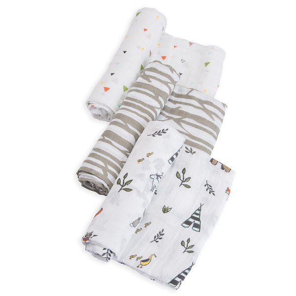 Little Unicorn Lightweight Breathable Cotton Muslin Baby Swaddle Set forest friends animals grey stripe