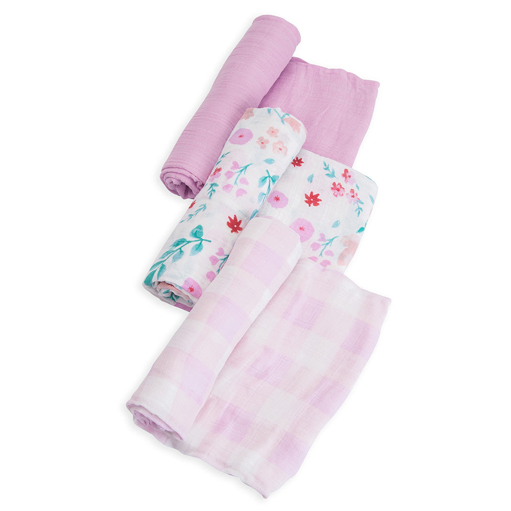 Little Unicorn Lightweight Breathable Cotton Muslin Baby Swaddle Set morning glory light pink floral