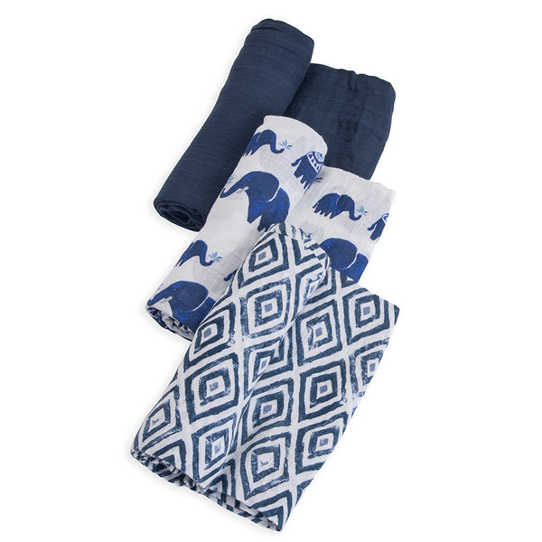 Little Unicorn Lightweight Breathable Cotton Muslin Baby Swaddle Set indie elephant navy blue