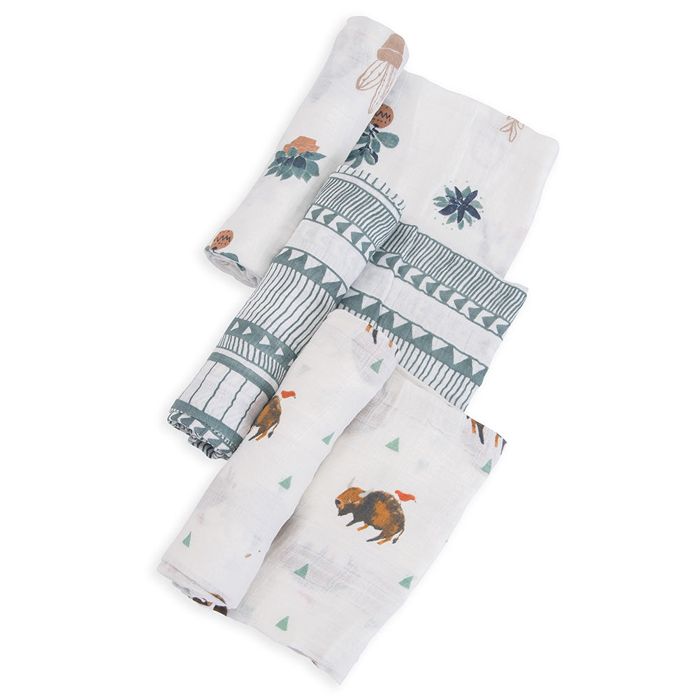 Little Unicorn Lightweight Breathable Cotton Muslin Baby Swaddle Set bison brown buffalo sage