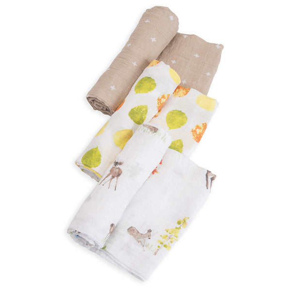 Little Unicorn Lightweight Breathable Cotton Muslin Baby Swaddle Set oh deer forest