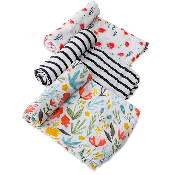 Little Unicorn Lightweight Breathable Cotton Muslin Baby Swaddle Set while mums floral flower multicolored black white stripe