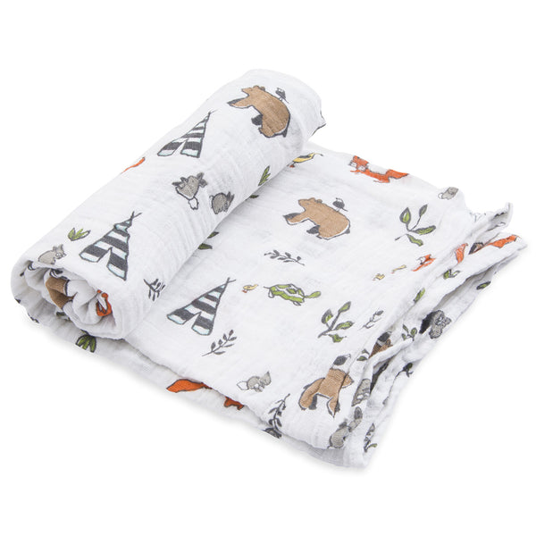 Little Unicorn Single Cotton Baby Swaddle Lightweight Breathable forest friends woodland animals multicolored white