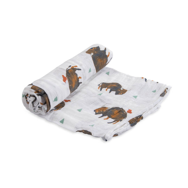 Little Unicorn Lightweight Breathable Single Cotton Baby Swaddle bison brown