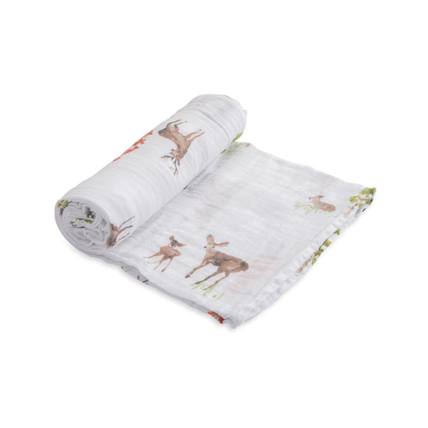 Little Unicorn Lightweight Breathable Single Cotton Baby Swaddle oh deer forest