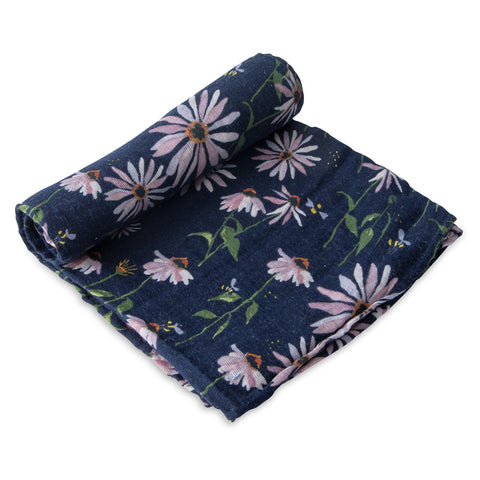 Little Unicorn Dark Coneflower Single Cotton Muslin Baby Swaddle navy blue pink flower