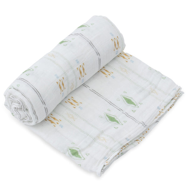 Little Unicorn Lightweight Breathable Single Cotton Baby Swaddle diamond stripe green orange