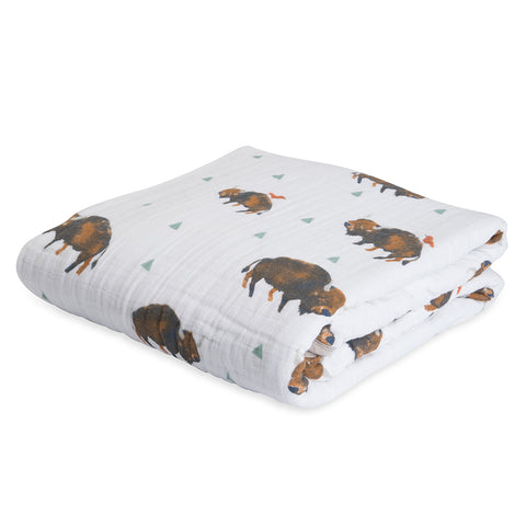 Little Unicorn Breathable Natural Cotton Muslin Quilt for Children bison brown buffalo