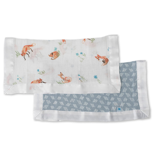 Little Unicorn Breathable 100% Cotton Muslin Security Blanket 2-Pack fox blue grass orange