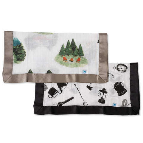 Little Unicorn Breathable 100% Cotton Muslin Security Blanket 2-Pack happy camper camp gear forest