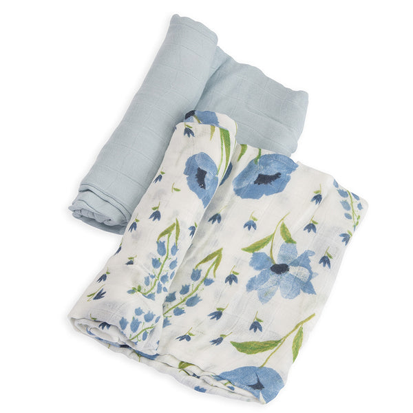 Little Unicorn Lightweight Breathable Deluxe Muslin Baby Swaddle Set blue wild-flower floral light