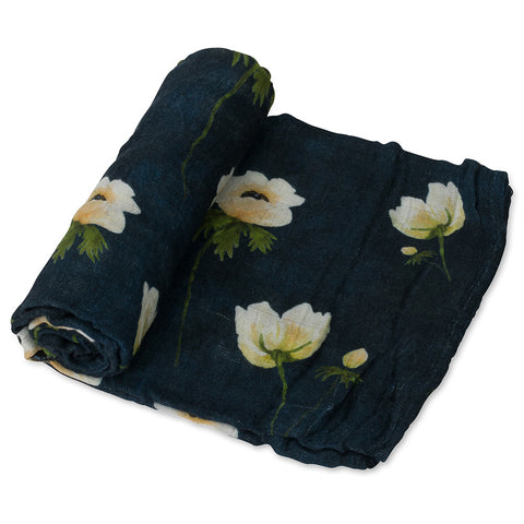 Little Unicorn Deluxe Muslin Single Baby Swaddle Blanket white anemone dark navy blue yellow floral