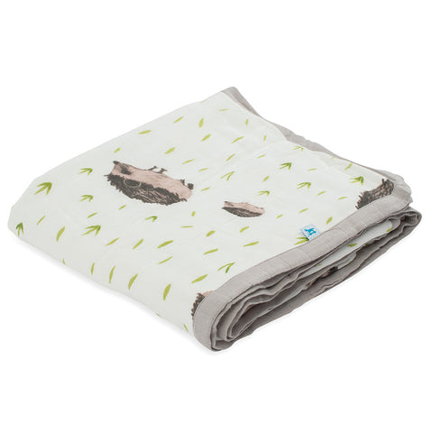 Little Unicorn Deluxe Muslin Quilt for Children hedgehog brown white