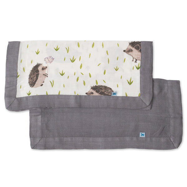 Little Unicorn Breathable 100% Cotton Muslin Security Blanket 2-Pack hedgehog charcoal grey