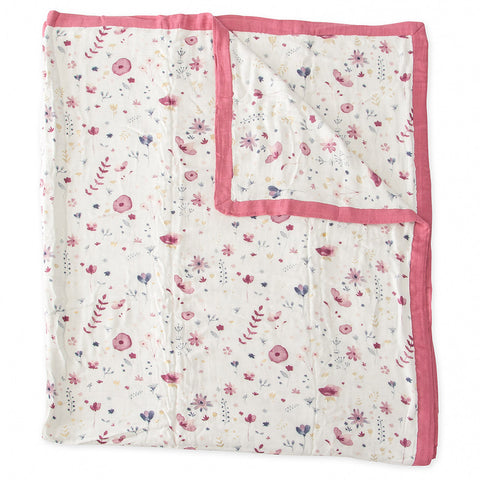 Little Unicorn Big Kid Deluxe Muslin Bamboo Quilt fairy garden pink floral trim