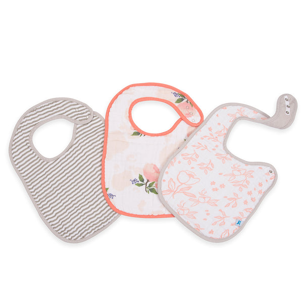 Little Unicorn Cotton Classic Baby Bib water-color rose light pink floral