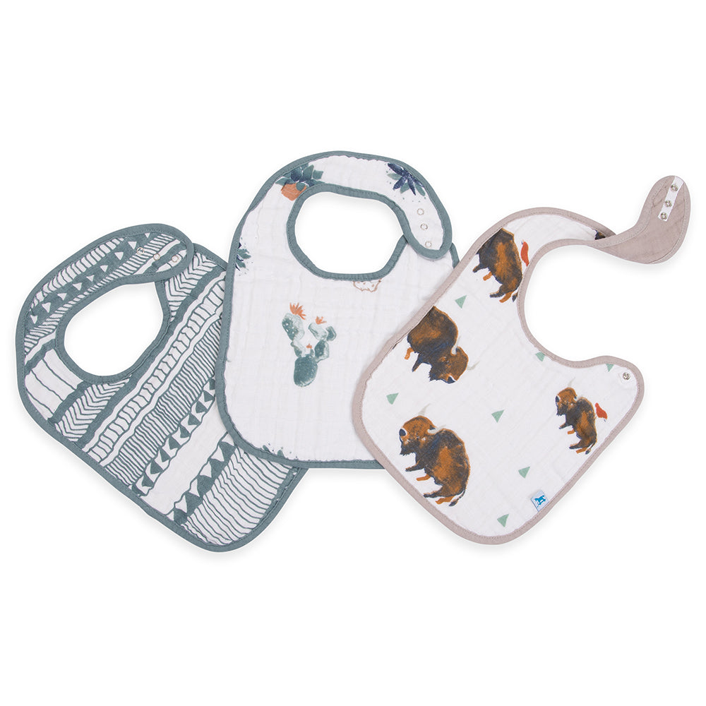 Little Unicorn Cotton Classic Baby Bib bison buffalo sage stripe design cactus