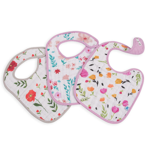 Little Unicorn Cotton Classic Baby Bib summer poppy floral multicolored
