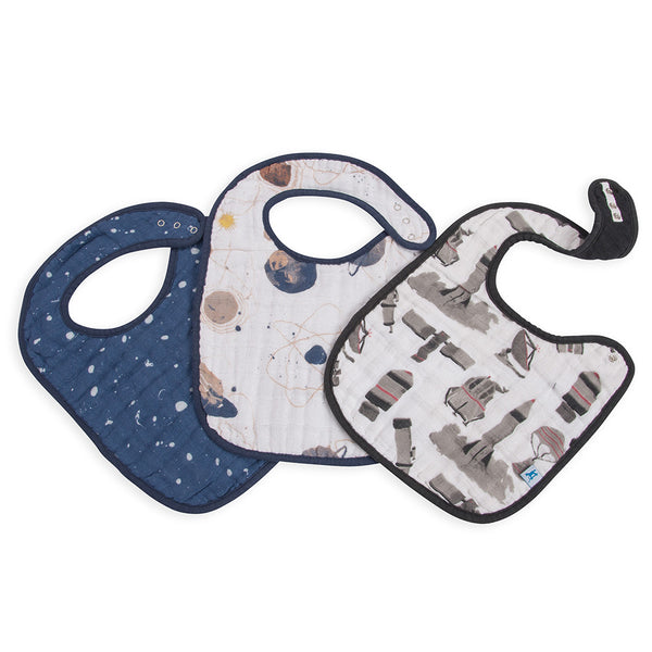 Little Unicorn Cotton Classic Baby Bib planetary dark blue constellation stars