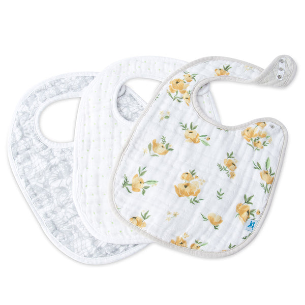 Little Unicorn Cotton Classic Baby Bib yellow rose floral grey