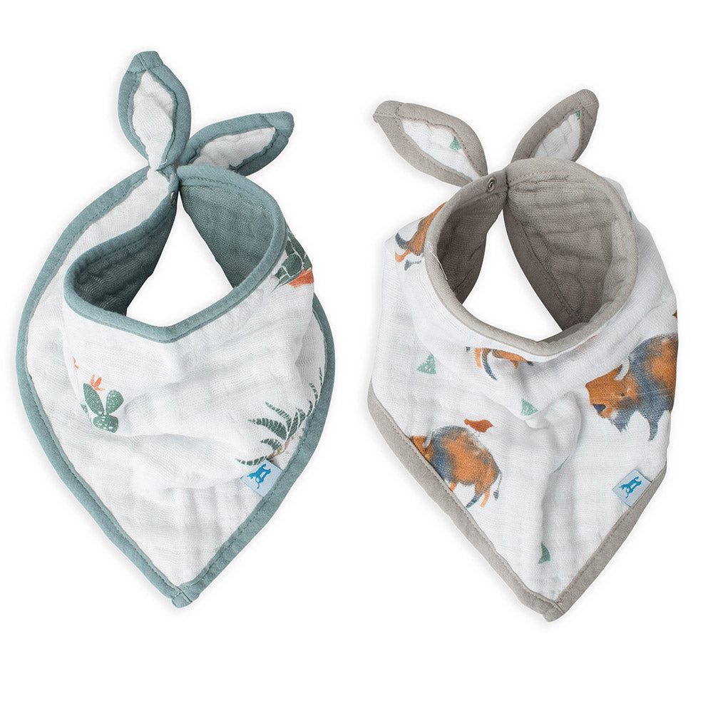 Little Unicorn Cotton Bandana Baby Bib bison sage green cactus