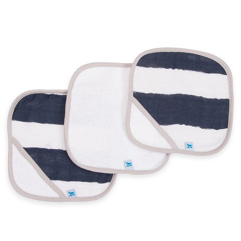 Little Unicorn Printed Cotton Muslin and Terry Cotton Washcloth Set navy stripe dark blue white