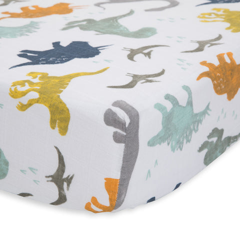Little Unicorn Dino Friends Cotton Muslin Fitted Crib Sheet Bedding multicolored